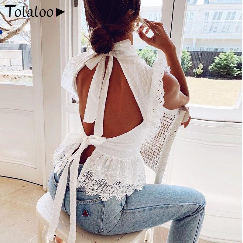 Totatoop sem costas lce up bordado mulher branco regata aberta volta sexy verão tops streetwear casual senhoras topos