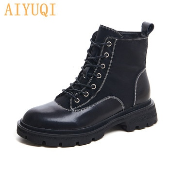 AIYUQI Martin Boots Women British Style 2021 New Thick-soled Lace-up Combat Boots Women Trend Genuine Leather Women Ankle Boots