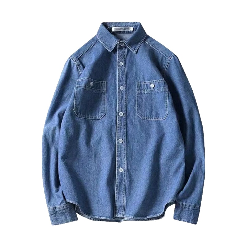 2021 Men's Denim Shirts Spring New Fashion Casual Cotton Slim Solid Color Long Sleeve Cowboy Shirt Classic Retro Streetwear Tops