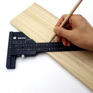 High-precision T Type Woodworking Multifunction Ruler Scriber Measuring Carpentry Marking Gauge Carpenter DIY Tools