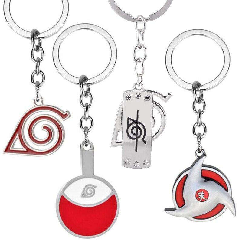 Металлический брелок для ключей с аниме Наруто, подвеска-кольцо с мультяшным рисунком учихи Итачи Шаринган, игрушка для детей, подарок