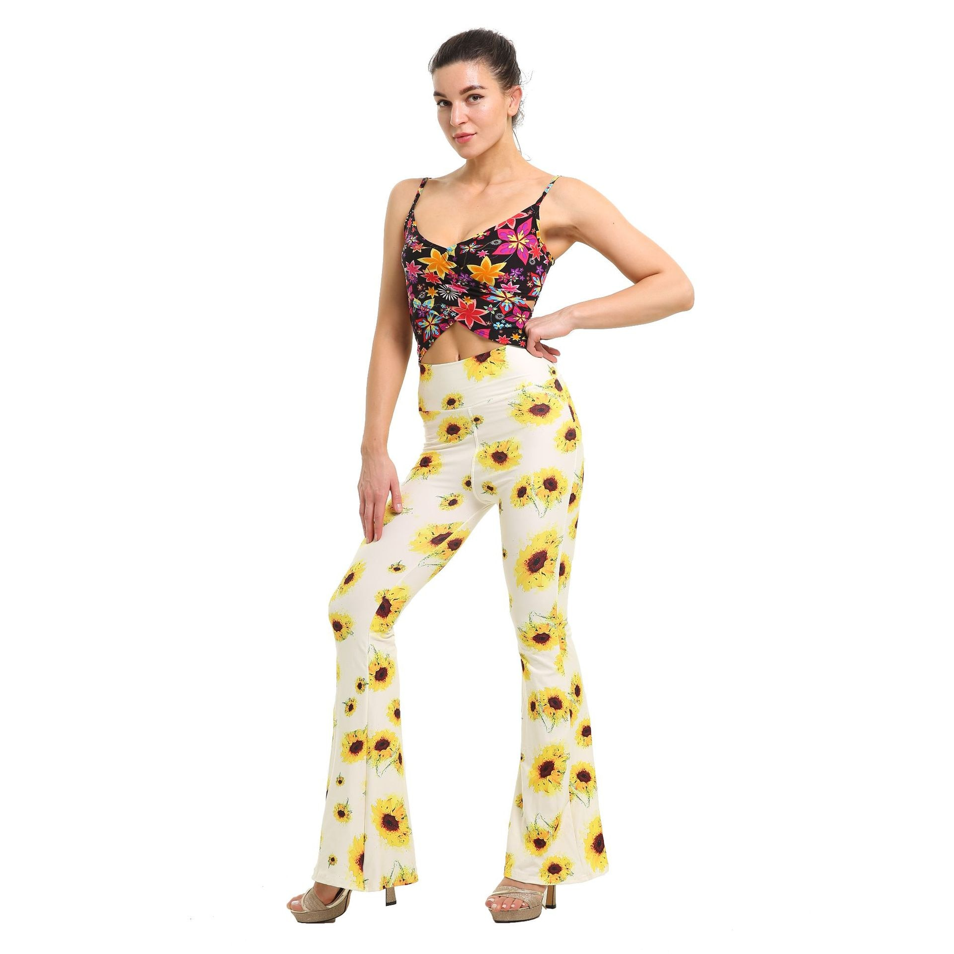 Tight-fitting Printed Bell-bottom Pants Women's High Waist Trousers Casual Stretch Thin Flared Pants