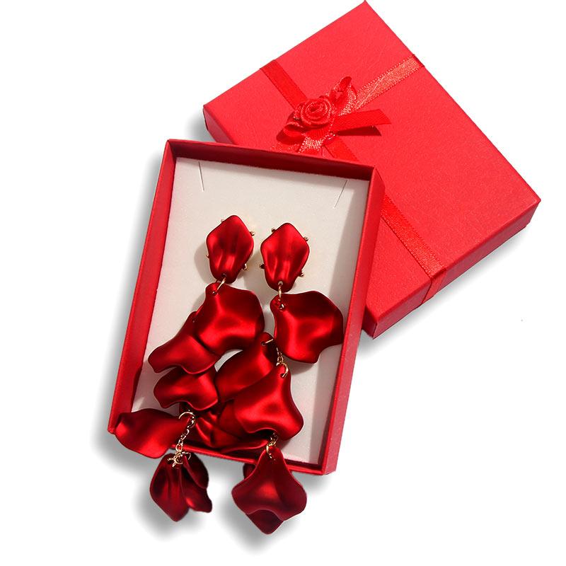 Flatfoosie Acrylic Resin Petal Flower Long Drop Earrings For Women Fashion Statement Earrings With Gift boxes Wedding Jewelry
