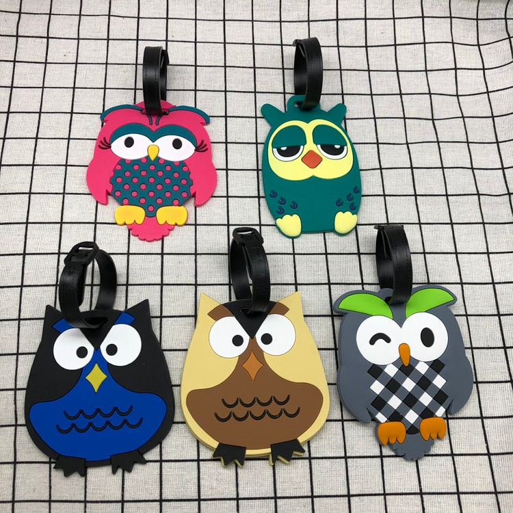 Suitcase Owl Luggage Tag Cartoon ID Address Holder Baggage Label Silica Ge Identifier Cute Travel Accessories