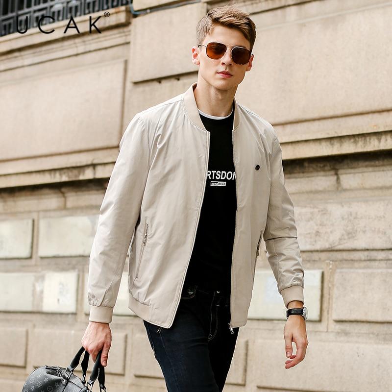 Мужская приталенная куртка-бомбер UCAK, Классическая однотонная куртка, уличная одежда, ветровка, куртка-бомбер, U8212, 2021