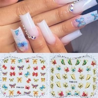 1pcs holographic laser butterfly nail art manicure stickers blue pink black spring themed nails decals nail art decorations