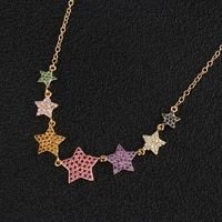 funmode trendy colorful star shape female girls pendants necklace for birthday party jewelry wholesale fn53