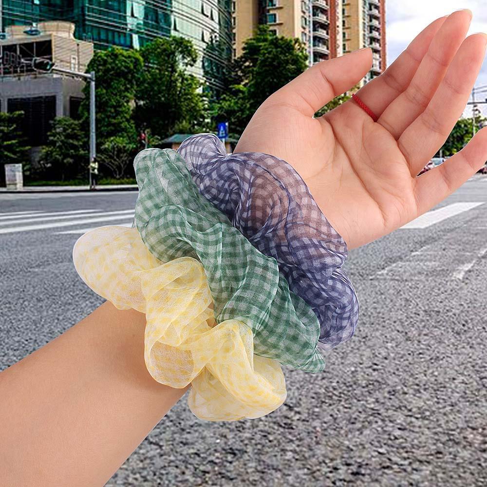 Sweet Women Hair Scrunchie Organza Plaid bandas elásticas para el pelo niñas Headwear banda de goma lazos de pelo transparente coleta