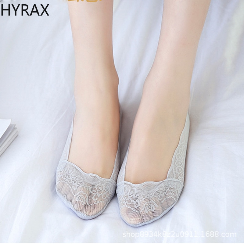 HYRAX Boat Socks Women Lace Shallow Lace Invisible Socks Silicone Non-slip Women Socks Manufacturer