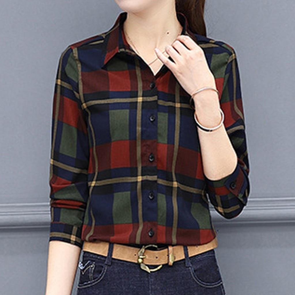 Mulheres blusas camisa de negócios coréia estilo treliça impressão manga longa lapela botão camisa feminina blusa harajuku blusas femininas