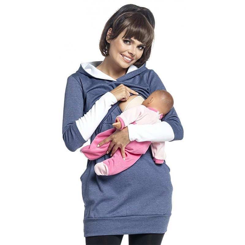 Nursing Sweatshirt Hoodie Women Long Sleeve Breastfeeding Shirt Winter for Feeding Maternity Pregnancy Clothes Plus Size enlarge