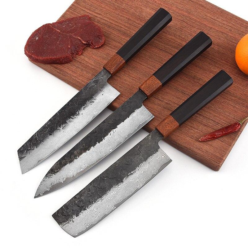 دمشق الصلب 67 طبقة المطبخ اليابانية ناكيري سكين الطاهي مع مثمنة خشب الأبنوس مقبض المهنية تقطيع الساطور الطبخ