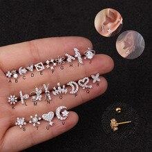 Feelgood 1Pc 1.2x6x3mm 16g acier inoxydable Barbell et CZ délicate oreille Tragus conque Cartilage hélice Piercing bijoux boucle doreille goujon