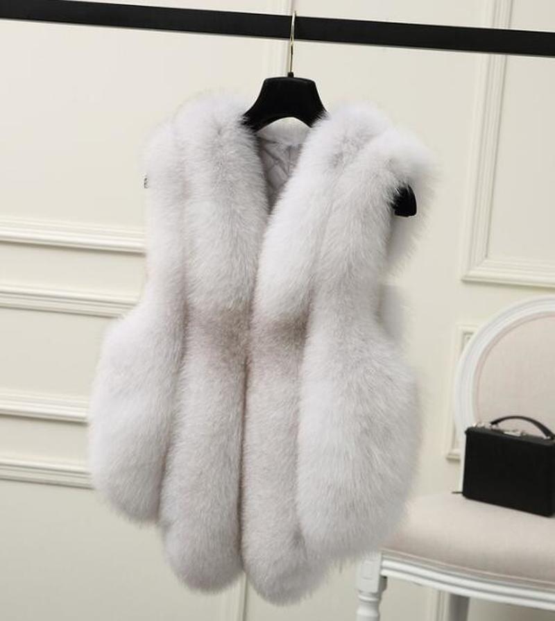 New Women Fur Vest Sleeveless V-neck Fashion Fur Waistcoat Faux Fox Fur Gilet Outwear Fur Coat Fur Jacket фото