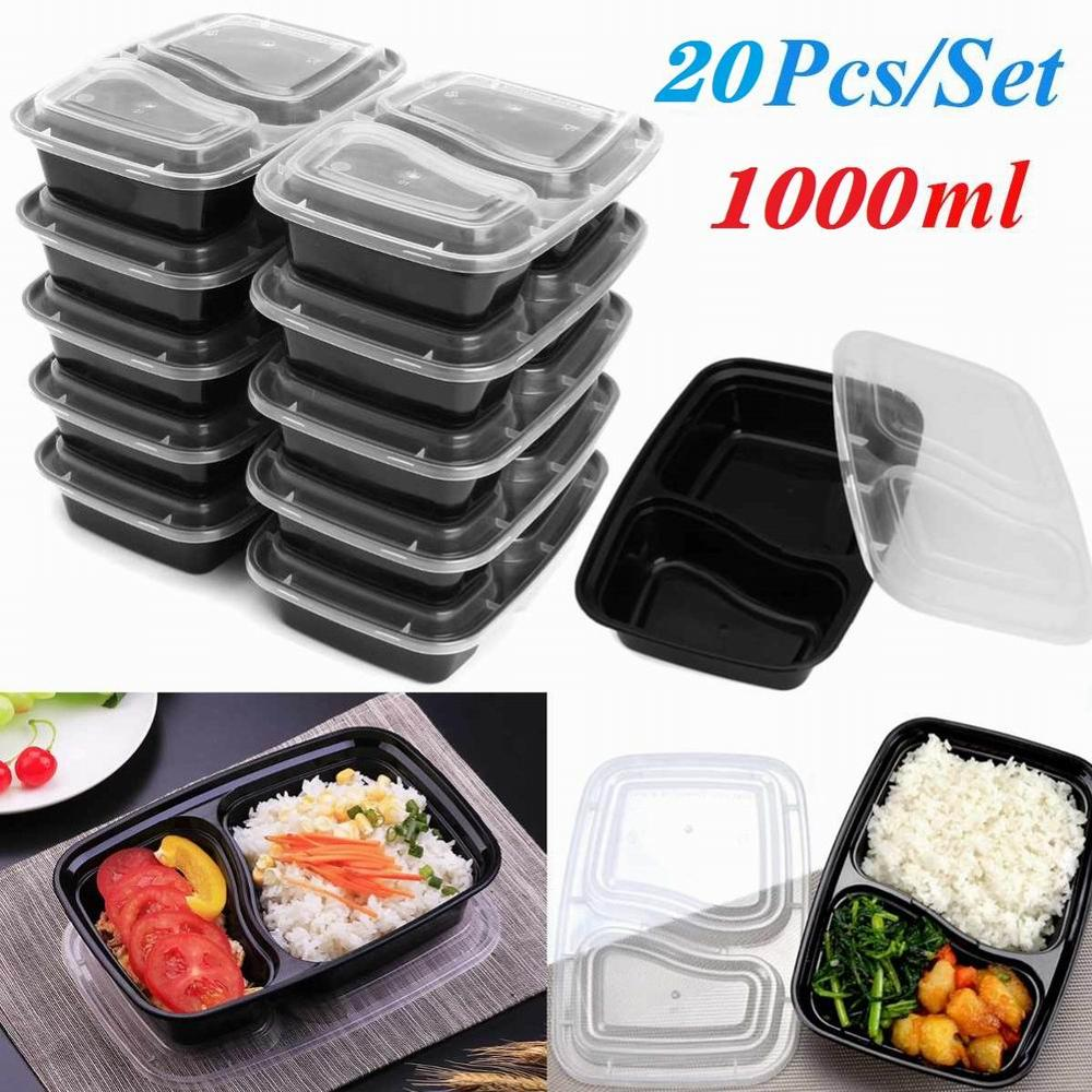 20pcs Reusable Lunch Boxes Microwavable Food Meal Storage Containers Containers with Lids Durable BPA Free Plastic Storage Case