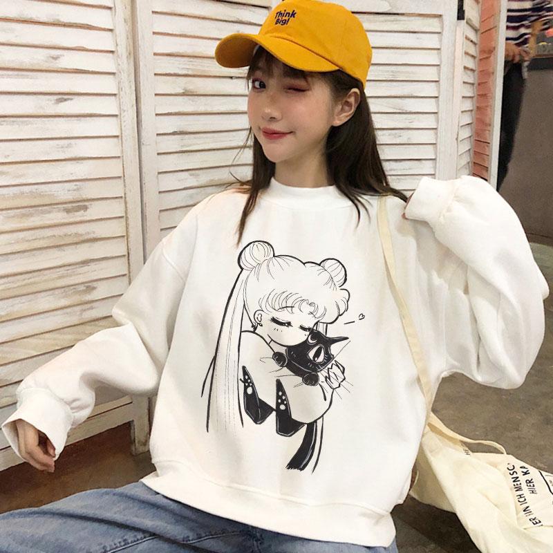 Sudadera con capucha Sailor Moon Cat Kawaii, ropa divertida de dibujos animados para mujeres, sudadera bonita de Anime Harajuku, moda femenina, sudaderas con capucha para chicas y mujeres