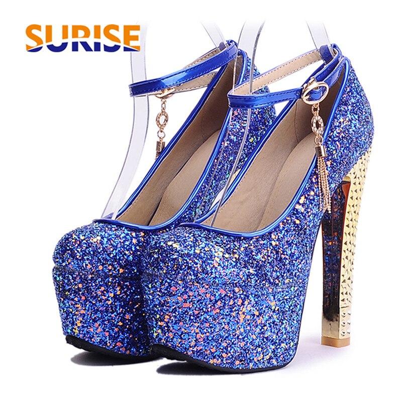 Zapatos de tacón de plataforma para mujer de gran tamaño con purpurina de 15cm, Tacón alto grueso, punta redonda, tela con lentejuelas, correa en el tobillo, zapatos de fiesta de boda para mujer