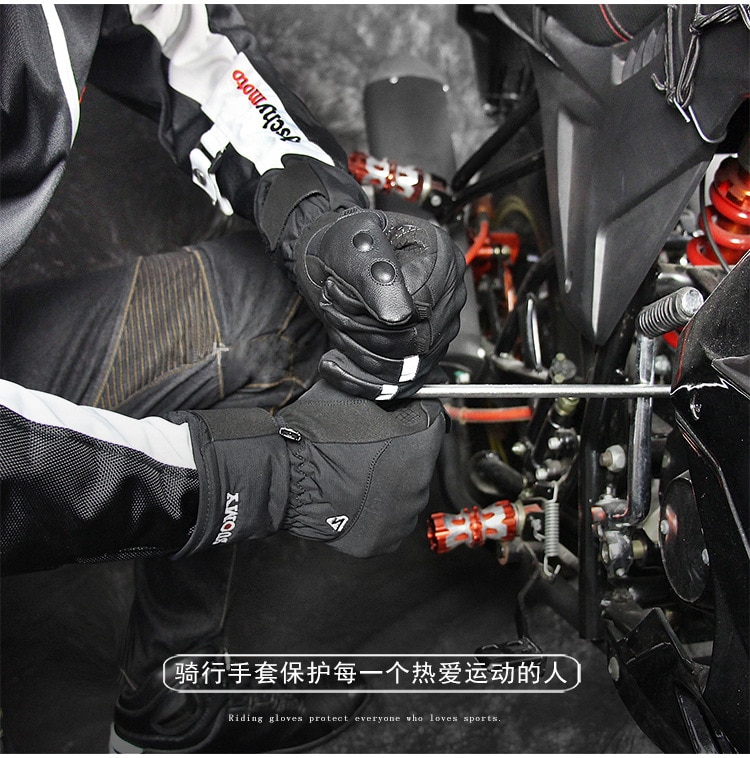 Motorcycle Gloves Motor Gloves Winter Thermal Fleece Lined Winter Water Resistant Touch Screen Non-slip Motorbike Riding Gloves enlarge