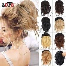 LUPU-trenzas rectas sintéticas para mujer, moño de pelo desordenado con bandas elásticas, coleteros, postizas naturales