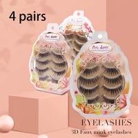 taoling 4 pairs japanese natural 100 artificial false eyelashes transparent terrier faux mink strip silk lash