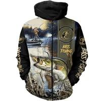 fashion 3d printed bass fishing zipper hoodie men women harajuku casual sweatshirt hip hop jacket g 123