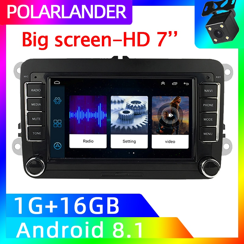 Review 7 Inch MP5 Player Android Auto Mirror Link GPS Navigation For Bora Golf VW Polo Volkswagen Passat B6 B7 Touran Wifi for Iphone