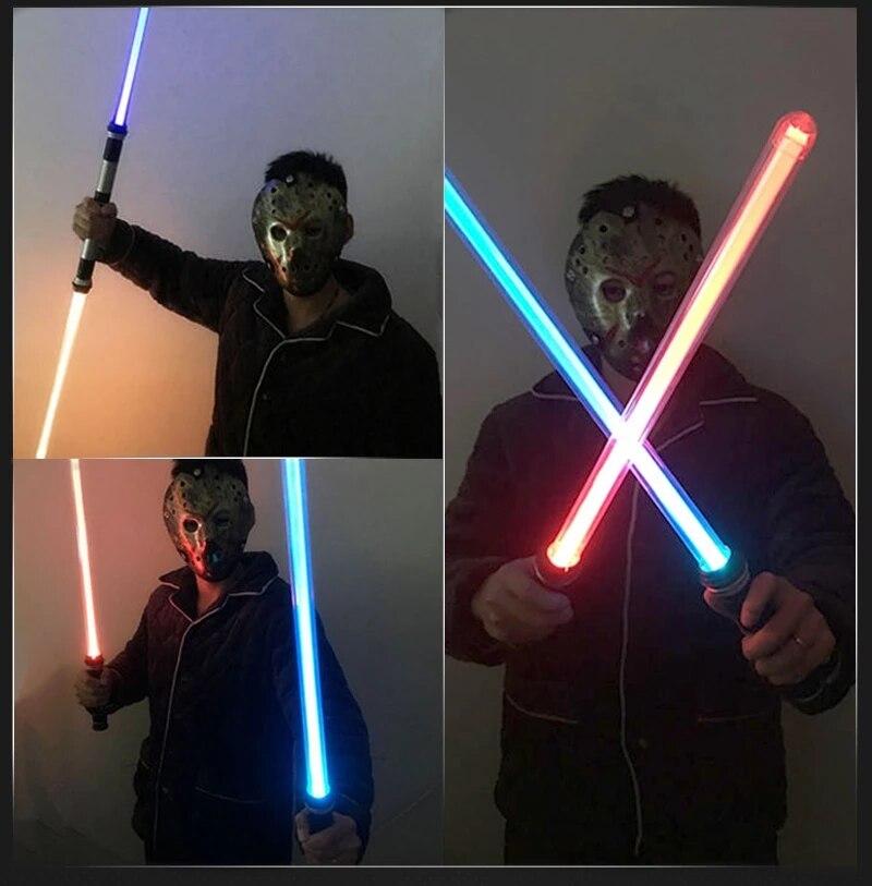 2PCS Flashing Lightsaber Laser Double Sword Toys Sound Light for Boy Girls Laser Flash Lightstick Glow in the dark Dropshiping
