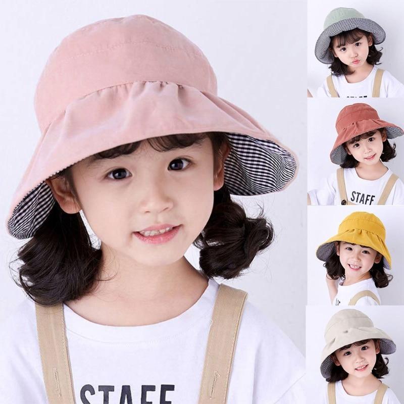 Kids Girls Sun Hat Summer Hats For Children Baby Empty Top UV Protection Big Brim Beach Korean Style Floppy Boy Pure