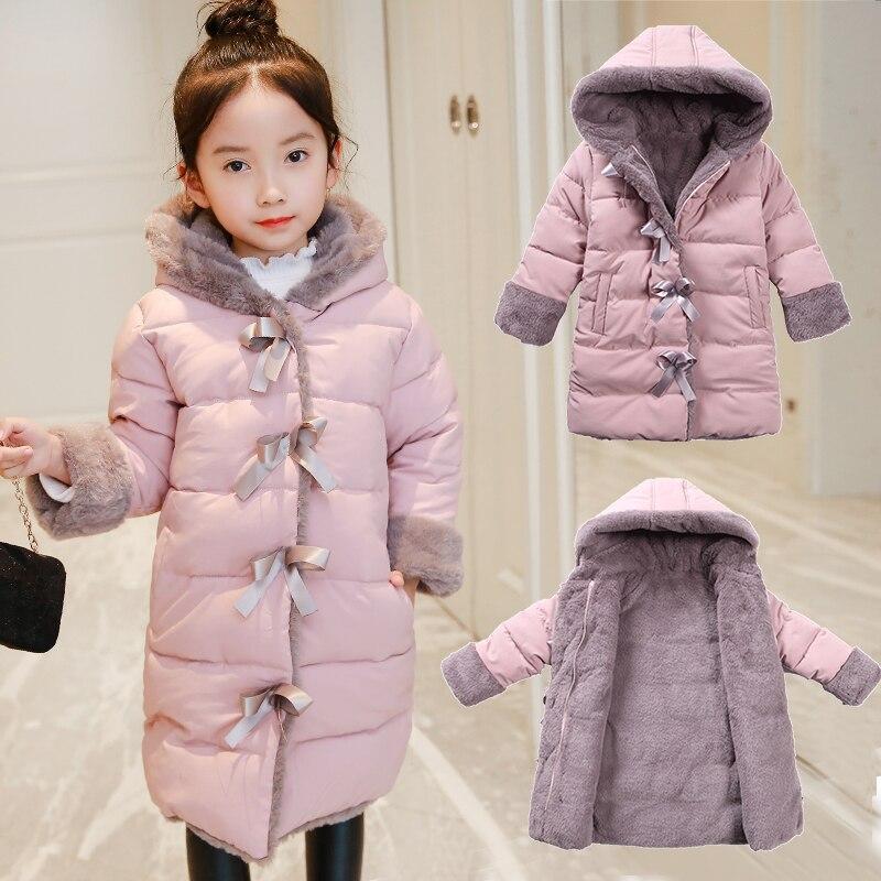 OLEKID 2021 الخريف الشتاء سترة للبنات زائد المخملية الدافئة طويلة فتاة سترة 3-11 سنوات فتاة معطف الطفل Snowsuit قميص
