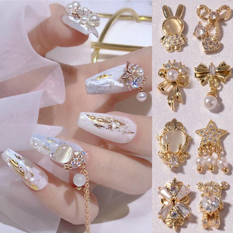 DIY Nail Jewelry 3D Bow Flower Pendant Chain 1 PC Metal Zircon Nail Diamond Manicure Decor Beauty To
