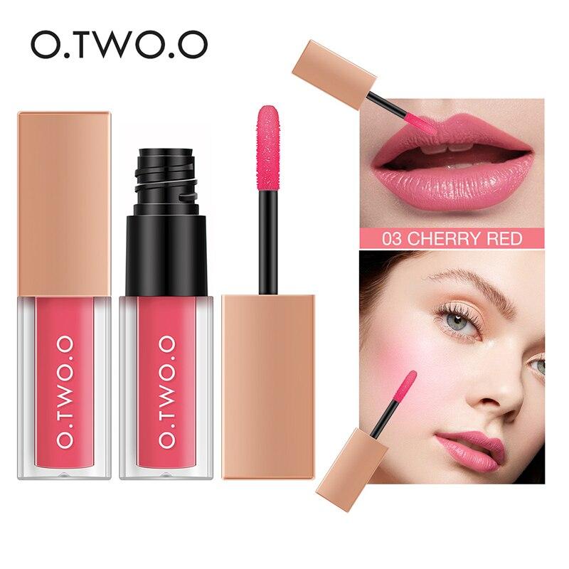 O.TW O.O 2 en 1 brillo de labios líquido lápiz labial líquido colorete doble efecto duradero impermeable suave sedoso suave Maquillaje Brillo de labios
