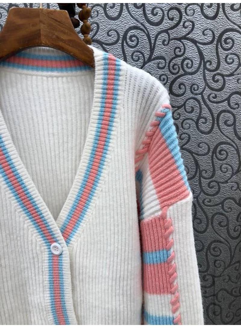 High Quality Cardigans Coat 2021 Autumn Winter Knitwear Women V-Neck String Deco Long Sleeve White Blue Wool Cardigan Outwear enlarge