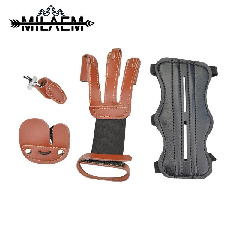 1 juego de equipo Protector de tiro con 3 dedos Protector de dedo y Protector de brazo para accesorios de arco compuesto de Recueve