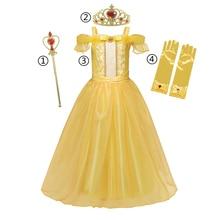 Or Belle robe pour filles Halloween enfants Costume de noël filles princesse Cosplay filles habiller robe de princesse fantaisie