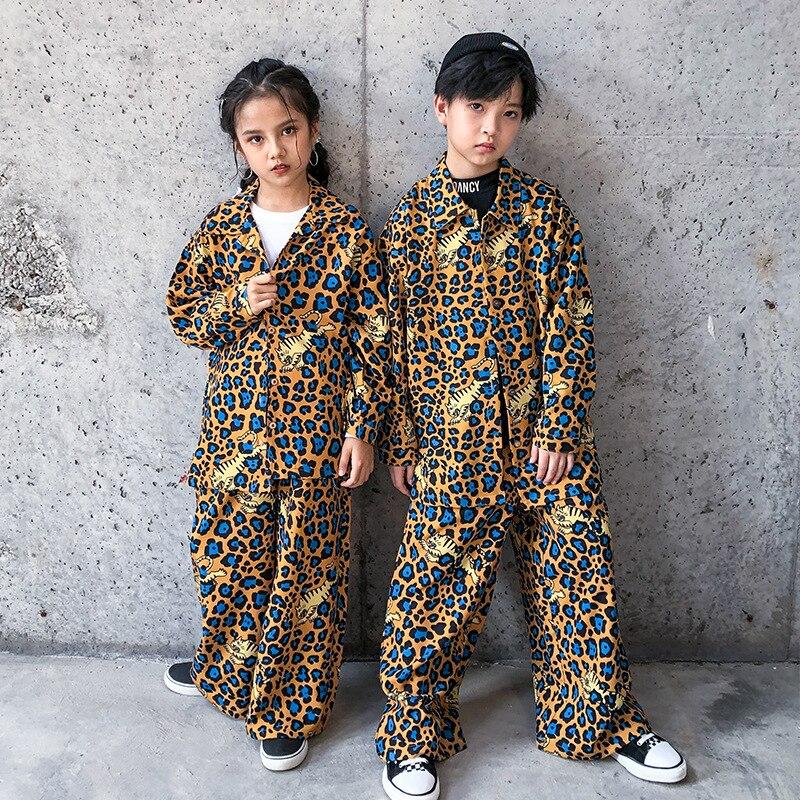 طفل كول الهيب هوب الملابس ليوبارد طباعة المتضخم قميص أعلى واسعة الساق الشارع الشهير السراويل للفتيات الفتيان ملابس رقص الجاز الملابس