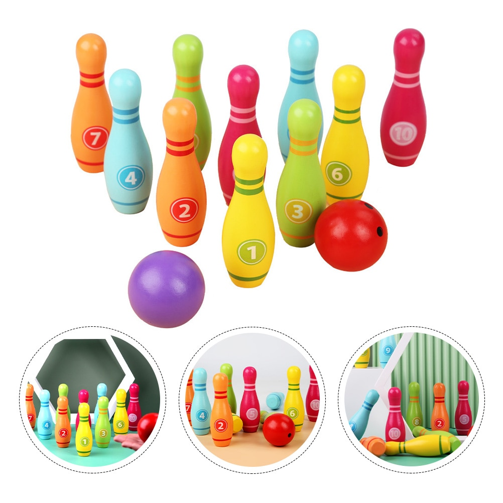 دبابيس البولينج الخشبية ومجموعة ألعاب ملونة للأطفال والكبار