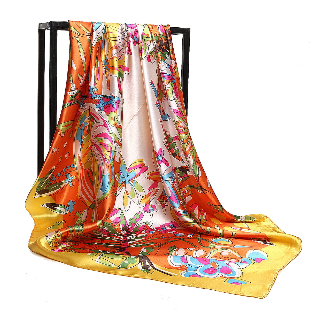 2021 Women's Silk Shawl New Virgin Forest Butterfly Flower Printing Female Sex Big Square Scarf Gifts for Ladies