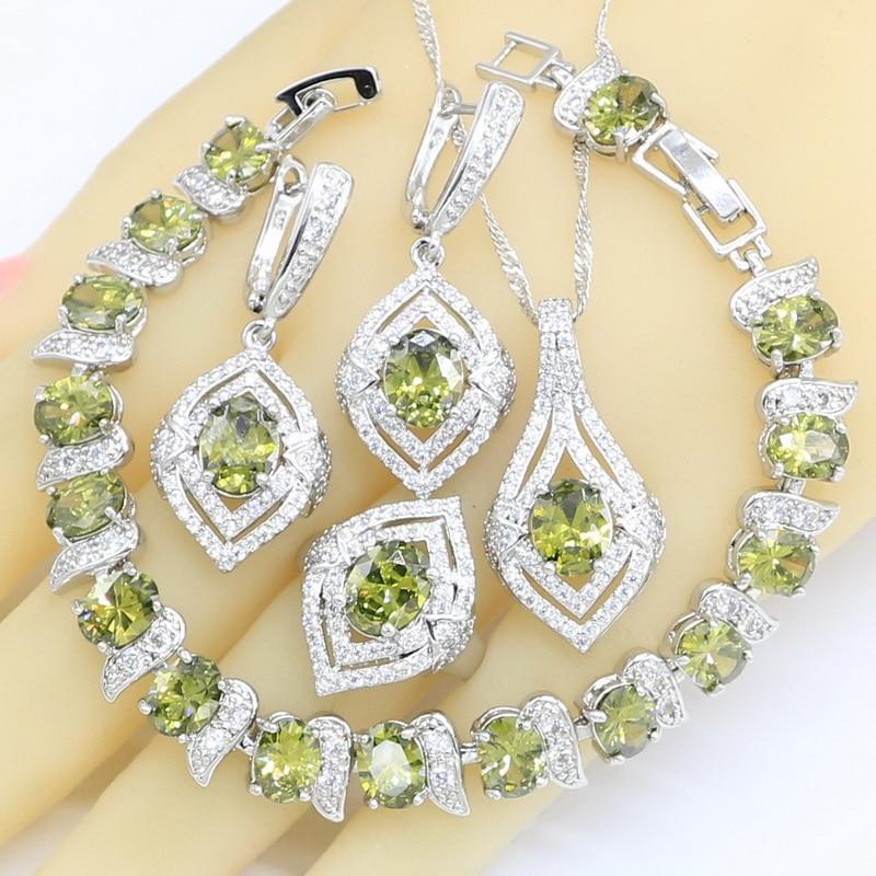 Prata cor conjuntos de jóias para as mulheres verde azeitona zircon casamento pulseira brincos colar pingente anéis caixa de presente livre