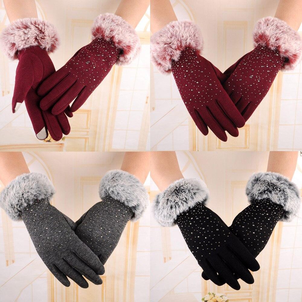 Guantes de invierno con pantalla táctil para mujer, guantes cálidos para otoño,...