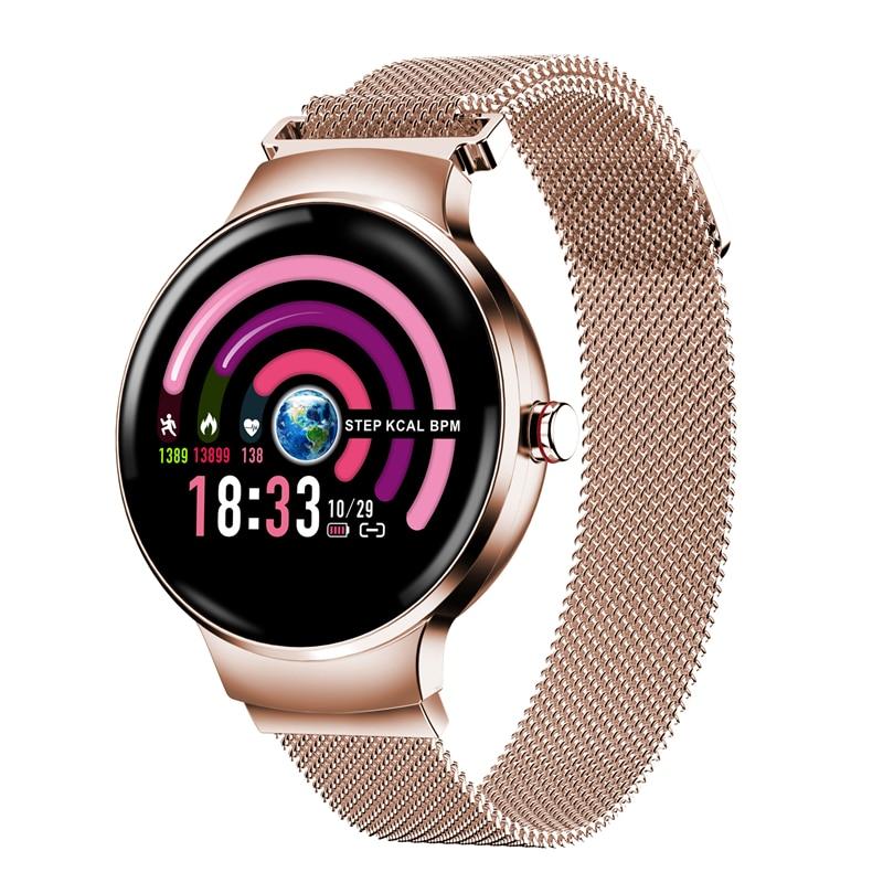 Reloj inteligente Abay H5 para mujer 2018 IP68, monitor de ritmo cardíaco a prueba de agua, Bluetooth para pulsera de Fitness Smartwatch