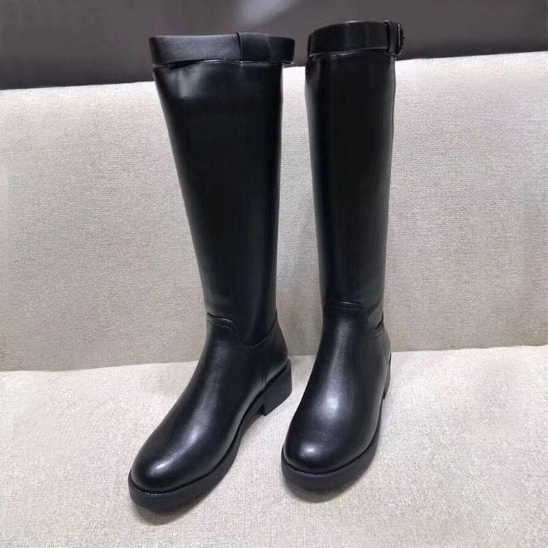 Koovan/сапоги из натуральной кожи; Новинка 2019 года; сезон осень-зима; сапоги до колена на толстой плоской подошве для девочек; высокие сапоги; женская обувь