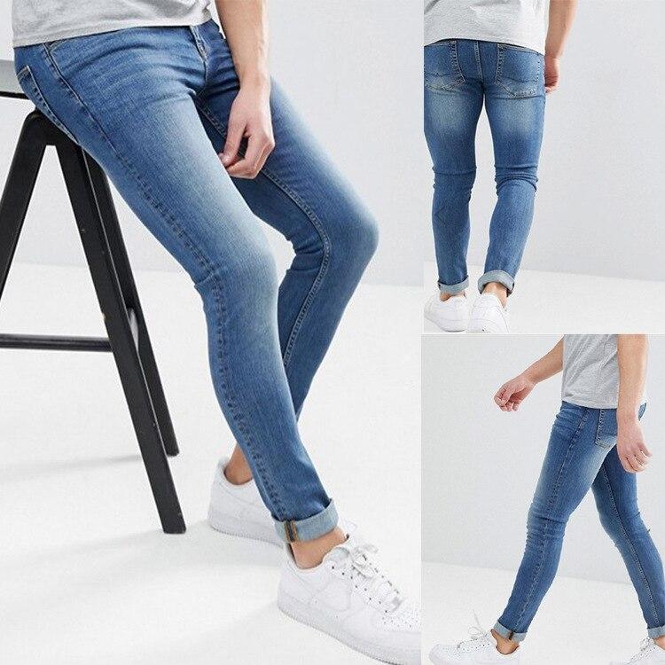 Узкие джинсы для мужчин, узкие брюки, классические синие мужские джинсовые дизайнерские брюки, повседневные однотонные прямые эластичные б...