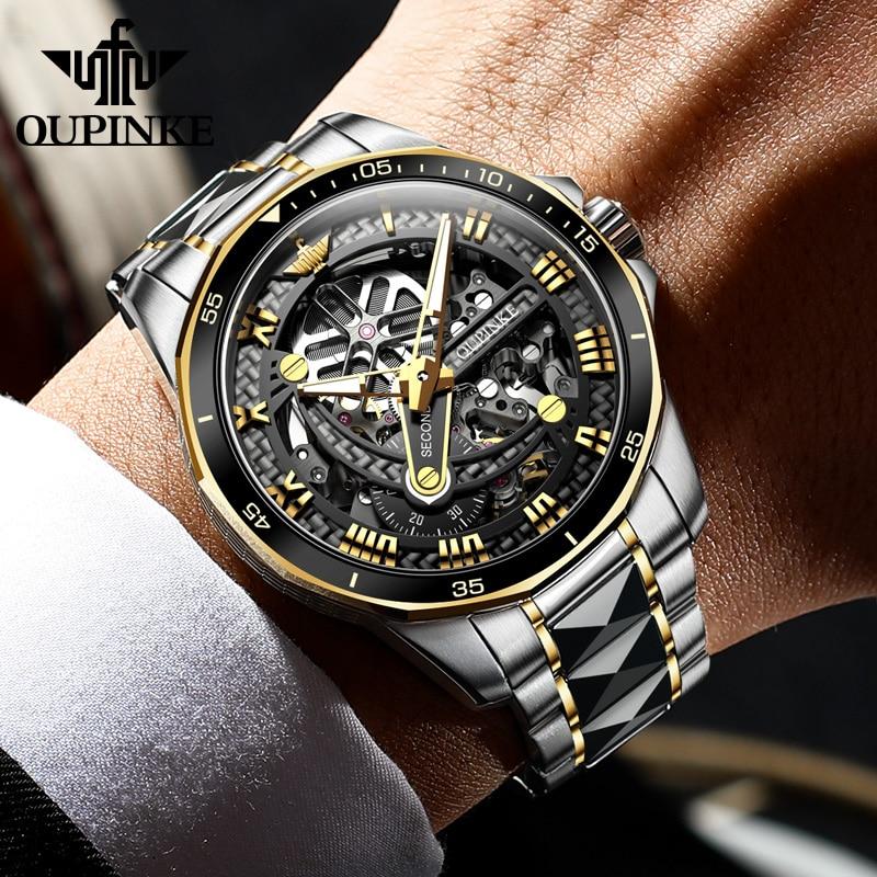 OUPINKE الرجال ساعة ميكانيكية الياقوت الزجاج التلقائي ساعة اليد الفاخرة التنغستن الصلب 50 متر مقاوم للماء رجال الأعمال الرياضة الساعات