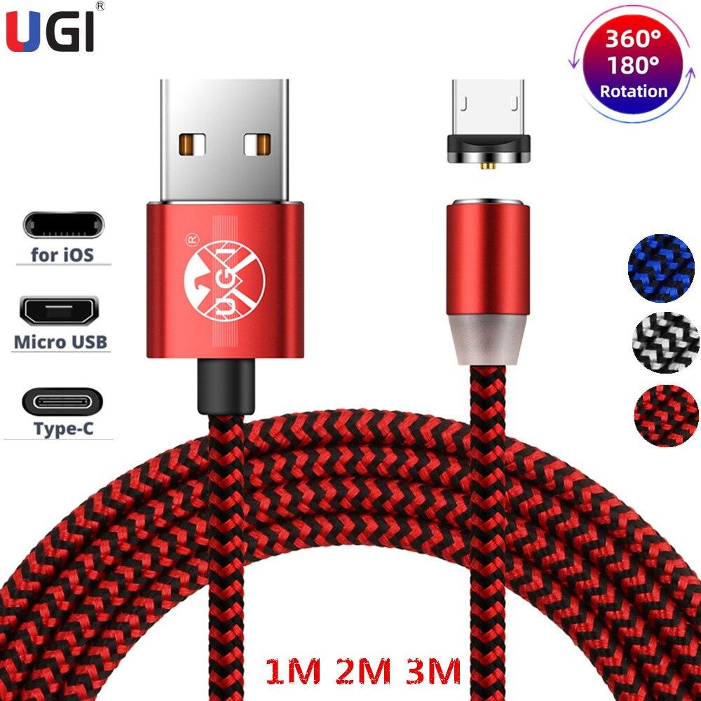 Cable de carga magnética rápido UGI LED 1-3M, cargador rápido de nailon para Cable Micro USB tipo C IOS