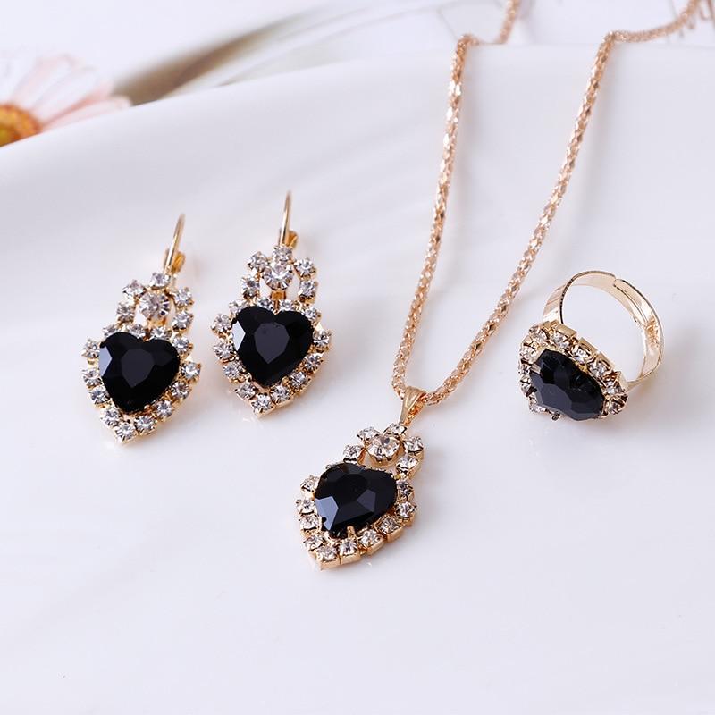4 шт./компл. роскошное ожерелье, обручальное кольцо, серьги, подвеска, красивый комплект свадебных украшений из розового золота