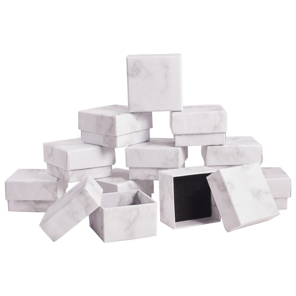 24 шт., картонные шкатулки для ювелирных изделий