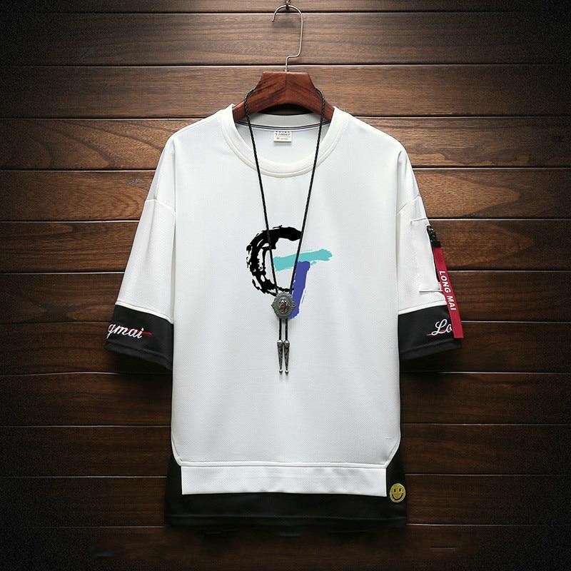 #1017 False Two Piece Hip Hop T Shirt Men Plus Size 4XL Round Neck Streetwear Tshirt Printed Harajuku Japanese Streetwear Summer