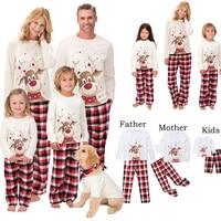 2021 Семейные рождественские пижамы, сочетающиеся с оленем, пижамные комплекты одежды для мамы, дочери, отца, сына, одежда для сна
