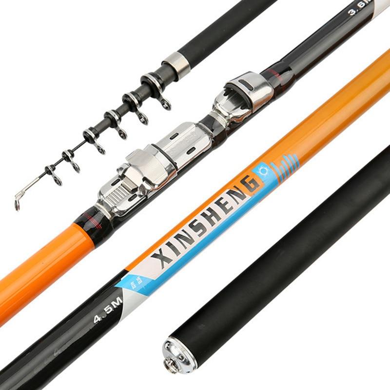 Портативная Поворотная удочка для рыбалки, 2,4-6,3 м, Удочка из углеродного волокна высокого качества, телескопическая, для путешествий, морск...