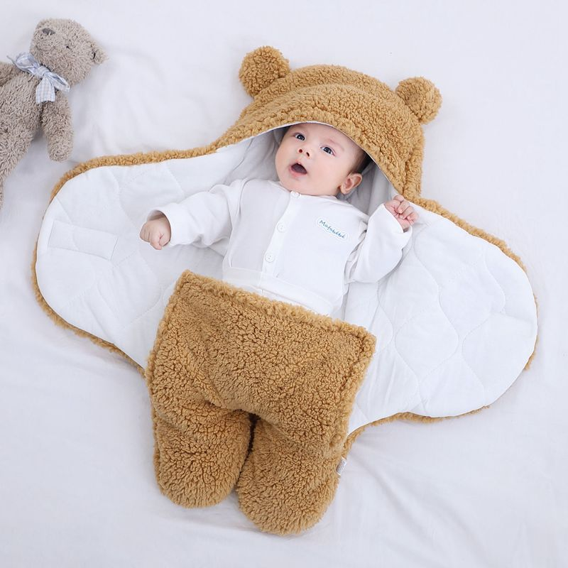 Infant Bat-Style Wrapped Velcro Sleep Sack Baby Winter Fleece Sleeping Bag Newborn Swaddle Blanket Bear Modeling Pajamas 1-3M